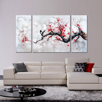 triptych cherry blossom painting 3 piece wall art 3 piece large wall art