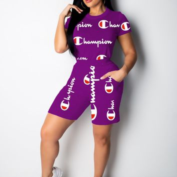 Purple CHAMPION Top and Pants Set Sportswear