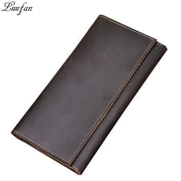 Crazy Horse Leather Wallet Genuine Leather Long Wallet Men Purse Casual Wallet with big phone pocket long wallet