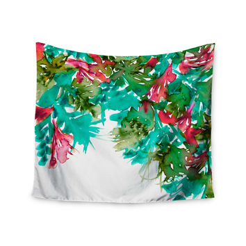 "Ebi Emporium ""Floral Cascade 7"" Teal Red Wall Tapestry"