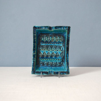 Mid Century Bitossi Rimini Blue Rectangular Ashtray