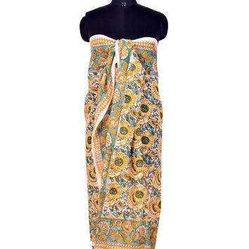 Yellow Floral Beach Cover-Up, Cotton Sarong and Pareo - Free Shipping