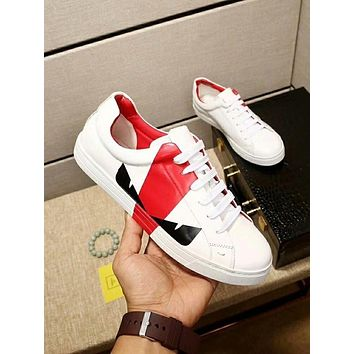 Fendi 2018 new monster eye print color matching lace sports shoes white+red