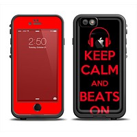 The Keep Calm & Beats On Red Apple iPhone 6 LifeProof Fre Case Skin Set