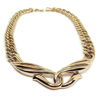 Crown Trifari Vintage Necklace Gold Tone Retro Womens Metal Jewelry