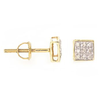 0.07 Ct, Square Diamond Pave Set Stud Earrings In 14K Gold