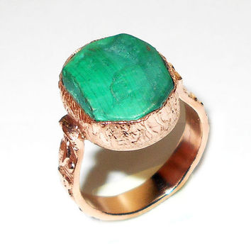 Malachite Ring - Gemstone Ring - Handmade Ring - Brass Ring - Rough Stone Jewelry - Raw Gemstone Ring - Bezel Setting Ring, Unique Gift Ring