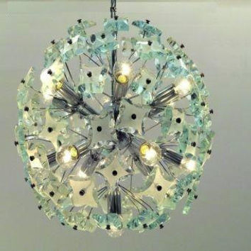 Huge Fontana Arte Cut Glass Sputnik Fixture, made around 1960 Italy