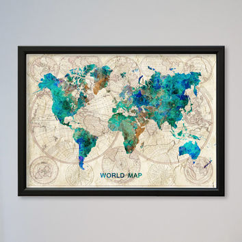 Best old world map poster products on wanelo world map framed watercolor poster old world map wall art decor gumiabroncs Image collections