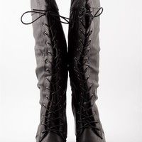 Taste for Danger Tall Lace Up Boots - Black