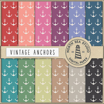 Vintage Anchors Digital Paper Pack | Scrapbook Paper | Printable Backgrounds | 12 JPG, 300dpi Files | BUY5FOR8