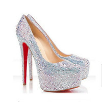 Silver pearl shoes, Bridal wedding shoes, Red soles shoes high heels, High platform wedding heels, Crystal heels evening shoes prom shoes