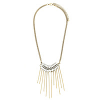 Crystal Feather Fringe Necklace
