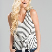 Diane Sleeveless Stripe Ribbed Top