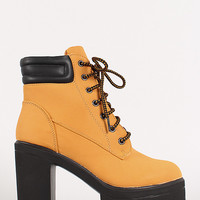 Lace Up Chunky Heel Platform Work Boot