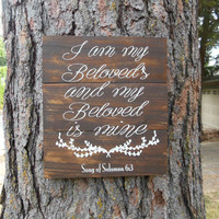 """Joyful Island Creations """"I am my beloveds and my beloveds is mine"""" wood sign, wedding sign, bedroom sign, love signs, song of solomon 6:3"""