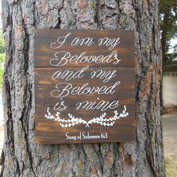 "Joyful Island Creations ""I am my beloveds and my beloveds is mine"" wood sign, wedding sign, bedroom sign, love signs, song of solomon 6:3"
