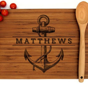 Personalized Cutting Board, Custom Wedding Gift, Anniversary Gift, Personalized Anchor Design, Wedding Decor, Housewarming Gift, Chef Gift