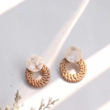 Handmade Rattan Straw Acrylic Earrings - Creme