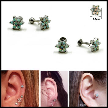 1PC 316l Surgical Steel With Opal Flower Labret Stud Lip Piercing Rings Ear Tragus Stud Cartilage Earring Jewelry 16g