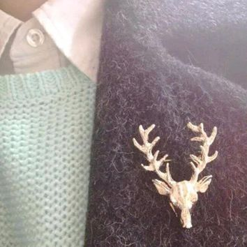 Unisex Animal Xmas Popular Cute Gold Deer Antlers Head Pin Brooches Styling Jewelry