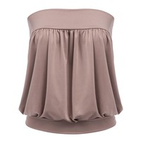 Fashionable Strapless Pleated Elastic Slim Tank Top for Women
