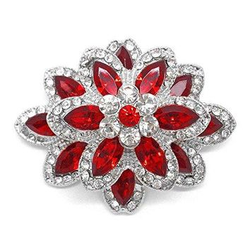Katies Style Marquise Red and Round Clear Rhinestone Crystal Vintage Flower Brooch Pin