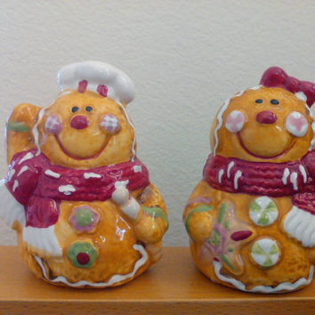 "Christmas Salt and pepper shakers, gingerbread couple, 3 3/4"" tall by 3"" wide, Ginger Bread Man and Woman with Red Scarves and Candy"