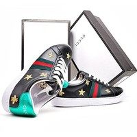 GUCCI Trending Woman Men Personality Bee Embroidery Flat Shoes Sneakers Sport Shoes I
