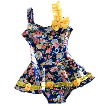 GI FOREVER New 2017 Children Flower Print Swimwear One Piece Suits Hot Sale Girl Cute Swimsuit Bathing Suit Maillot De Bai