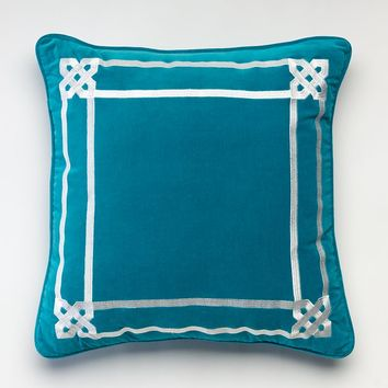 Happy Chic by Jonathan Adler Samantha Embroidered Throw Pillow (Blue)