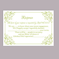 DIY Wedding RSVP Template Editable Text Word File Download Printable Green Rsvp Card Template Elegant Enclosure Card