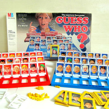 Vintage guess who mystery face board game by milton bradley / complete 1987