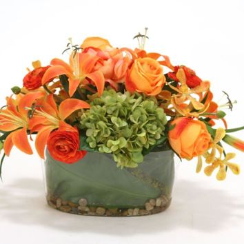 Orange Roses, Tiger Lily, Orchids and Hdyrangea In Glass Bowl