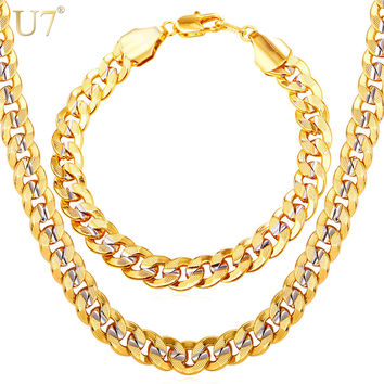 U7 Two Tone Gold Color Jewelry Set Party Men's Jewelry New Trendy 9MM Cuban Link Chain Necklace Bracelet Men S823