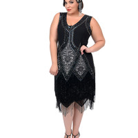 Unique Vintage Plus Size All Black Embroidered Somerset Flapper Dress