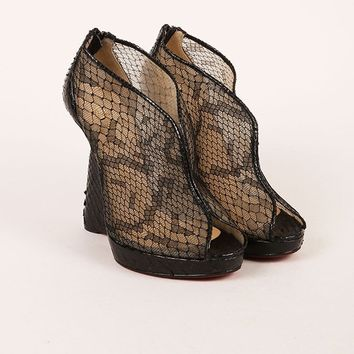 MDIGU2C Black Python Leather and Lace Janet Wedge Booties