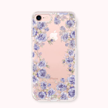 Floral iPhone 7 Case, iPhone 7 Plus Case, iPhone 6/6S Case, iPhone 6 Plus/6S Plus Case, iPhone 5/5S/SE Case, Galaxy Case - Royal Blue Garden