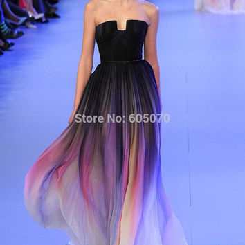 Vestidos New Gradient Ombre Chiffon Prom Dress Evening Dress Strapless With Pleats Women Dress Navy Lily Collins