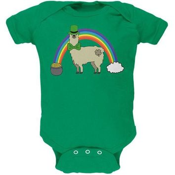 DCCKJY1 St. Patrick's Day Llama Cute Pot Of Gold Soft Baby One Piece