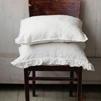 White Linen Pillowcase, Set of Two, Pillowcase with ruufles, Bedding, Linen for Home
