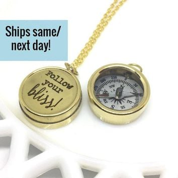 Engraved Compass Necklace, Gold Compass Necklace, Engraved Compass, Gold Compass, Follow Your Bliss, Custom Compass, Customized Compass