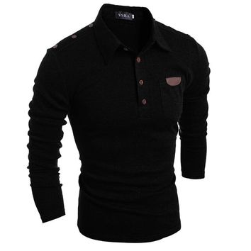 2018 Fashion Men's Polo Shirts Stylish Slim Fit Long Sleeve Casual Polo Shirts Solid Color Temperament Boy Tops Black Dark gray