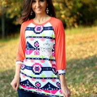 Voll Aztec Printed Top with Lace Pocket and Coral Sleeves