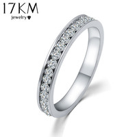 Silver Crystal Wedding Rings for Women Men Stainless Steel Engagement Ring anillos anel masculino CS12