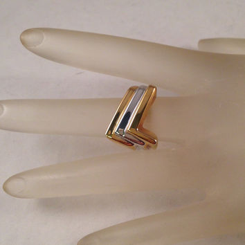 Vintage Gold and Silver Abstract Ring United States Ring Size 6 Setting is 5/8 Inches