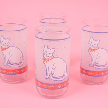 Vintage White Cat Glass Tumblers for Kitsch Kitchen Set of 4