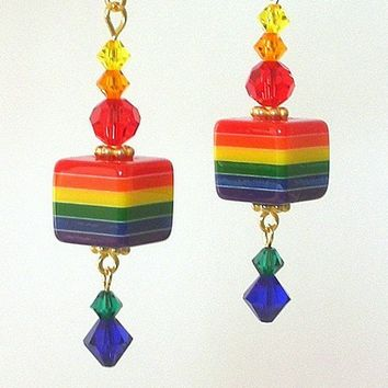 Rainbow striped earrings, resin and crystal, cubes