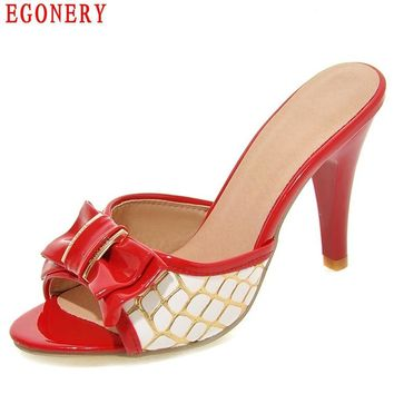 EGONERY Summer Style Cute Bowtie Colorful Peep Toe jordan High Heels Lady Shoes Patent