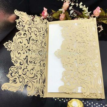 Hot 30Pcs Laser Cut Delicate Carved Pattern Romantic Wedding Party Invitation Card  With Single-layer blank inside pages 5zSH209